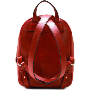 Leather Backpack Floto Siena red back
