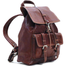 Load image into Gallery viewer, Leather Backpack Trastevere Brown side