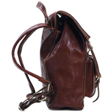 Load image into Gallery viewer, Leather Backpack Trastevere Brown end