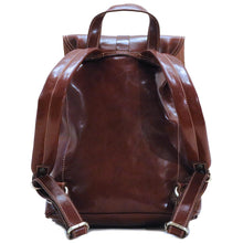 Load image into Gallery viewer, Leather Backpack Trastevere Brown back
