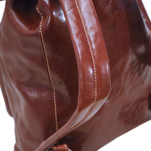 Load image into Gallery viewer, Leather Backpack Trastevere Brown strap
