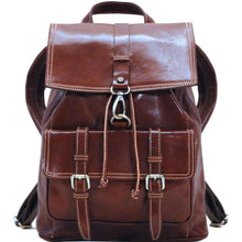 Load image into Gallery viewer, Floto Italian Leather Backpack Trastevere Brown front