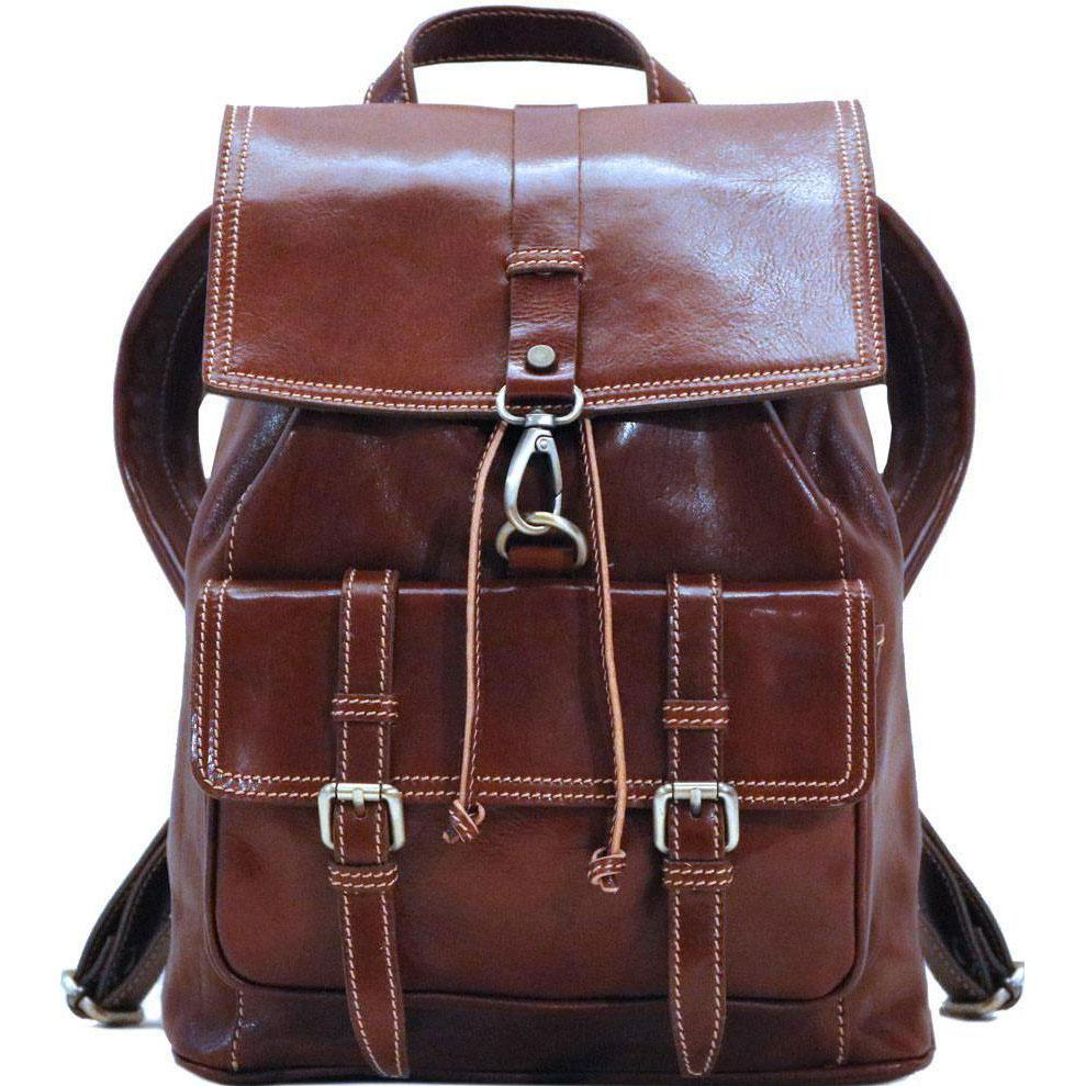 Floto Italian Leather Backpack Trastevere Brown front