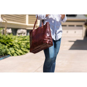 leather shoulder tote bag floto piazza brown 2