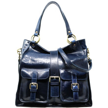 Load image into Gallery viewer, Floto Italian Leather Shoulder Tote Bag Women's Livorno blue
