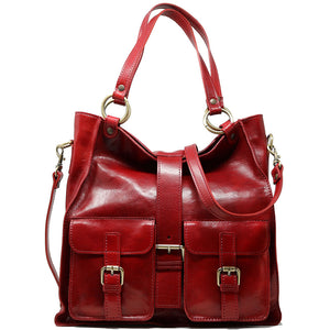 Floto Italian Leather Shoulder Tote Bag Women's Livorno red