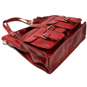 Floto Italian Leather Shoulder Tote Bag Women's Livorno red 4