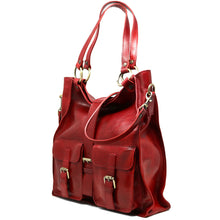 Load image into Gallery viewer, Floto Italian Leather Shoulder Tote Bag Women's Livorno red 2