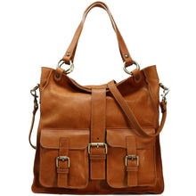 Load image into Gallery viewer, Floto Italian Leather Shoulder Tote Bag Women's Livorno tan