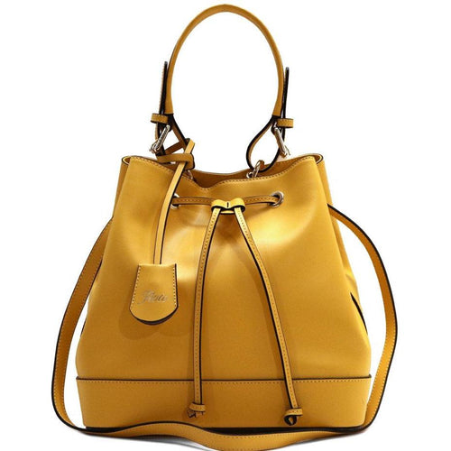 Floto Italian Leather Bag Milano Bucket Women's Shoulder Bag yellow