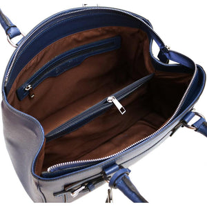 Leather Handbag Floto Rapallo Bag inside blue