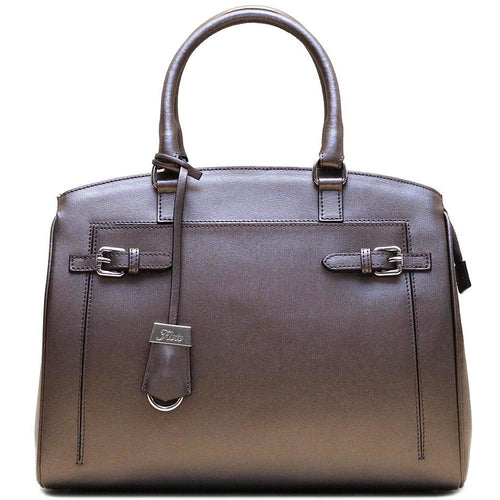 Italian Leather Handbag Floto Rapallo Bag silver