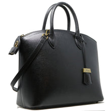 Load image into Gallery viewer, Floto Italian Leather Handbag Women's Tote Bag Romana black side