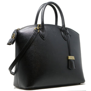 Floto Italian Leather Handbag Women's Tote Bag Romana black side