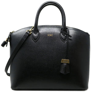 Floto Italian Leather Handbag Women's Tote Bag Romana black monogram