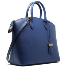 Load image into Gallery viewer, Floto Italian Leather Handbag Women's Tote Bag Romana blue side