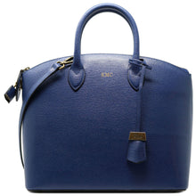 Load image into Gallery viewer, Floto Italian Leather Handbag Women's Tote Bag Romana blue monogram