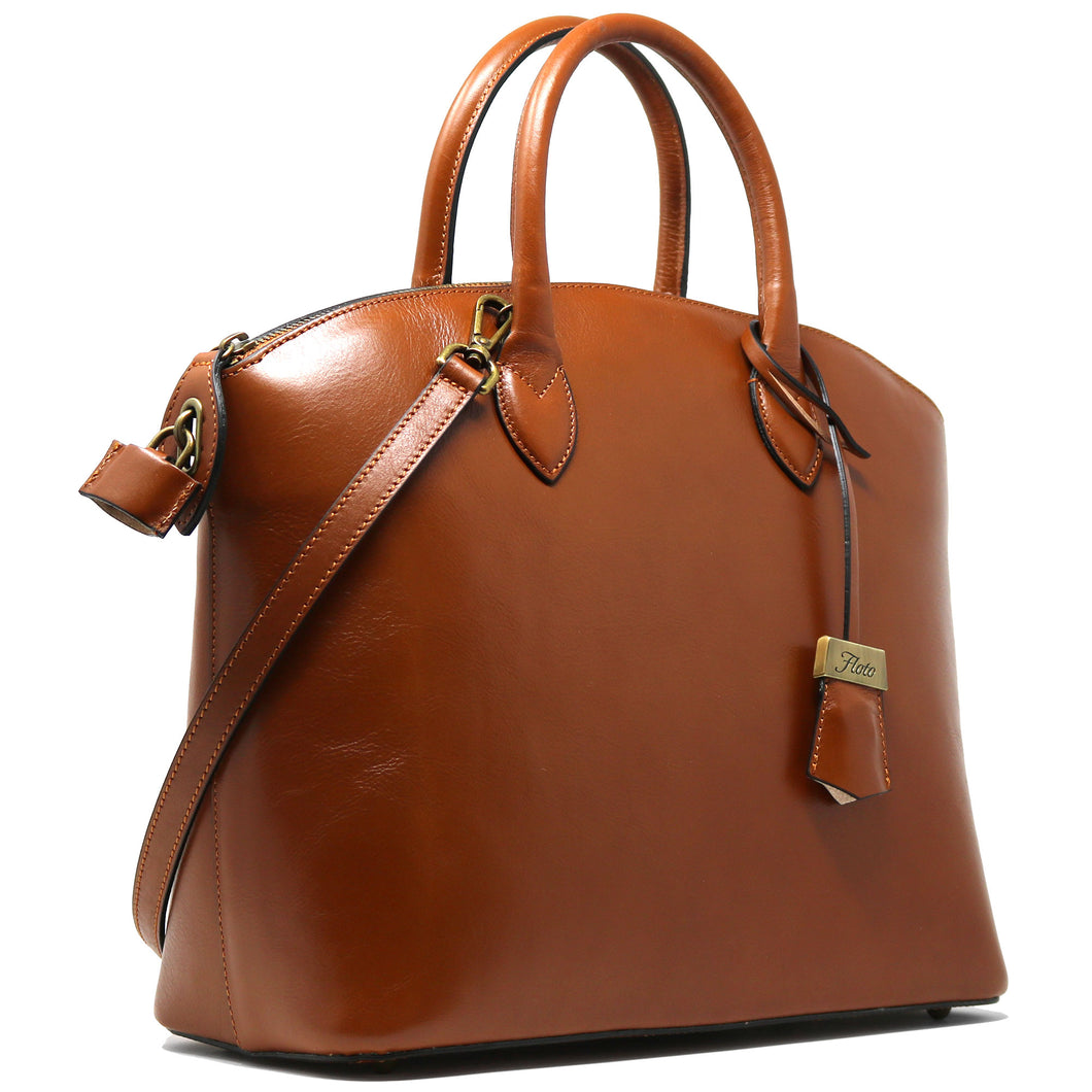 Floto Italian Leather Handbag Women's Tote Bag Romana brown side