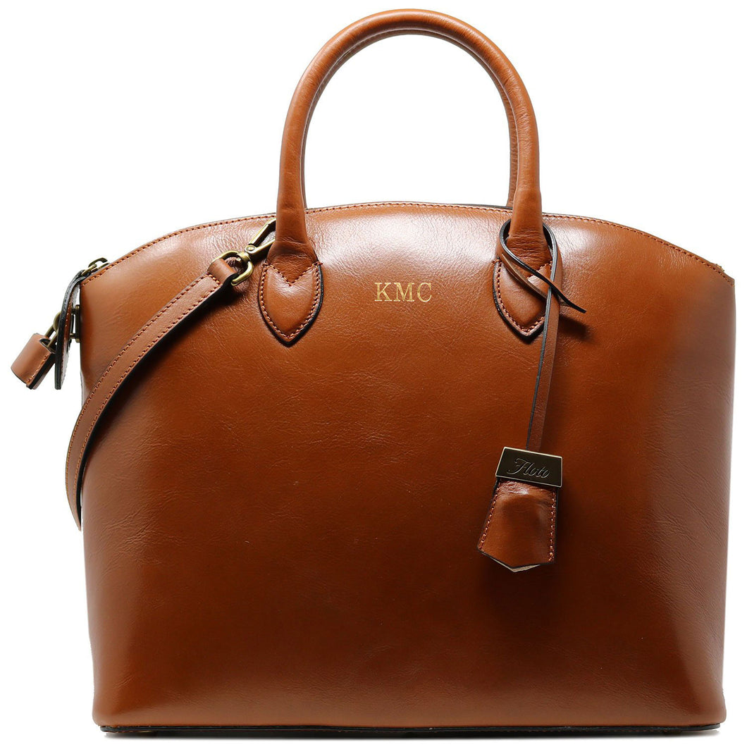 Floto Italian Leather Handbag Women's Tote Bag Romana brown monogram