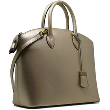 Load image into Gallery viewer, Floto Italian Leather Handbag Women's Tote Bag Romana gold side