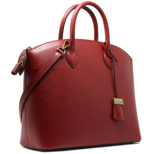 Floto Italian Leather Handbag Women's Tote Bag Romana red side