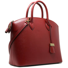 Load image into Gallery viewer, Floto Italian Leather Handbag Women's Tote Bag Romana red side