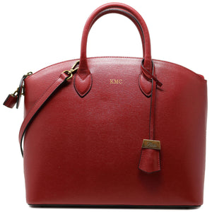 Floto Italian Leather Handbag Women's Tote Bag Romana red monogram