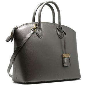 Floto Italian Leather Handbag Women's Tote Bag Romana silver side