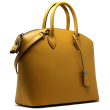 Load image into Gallery viewer, Floto Italian Leather Handbag Women's Tote Bag Romana yellow side