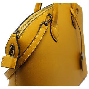 Floto Italian Leather Handbag Women's Tote Bag Romana yellow close