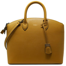 Load image into Gallery viewer, Floto Italian Leather Handbag Women's Tote Bag Romana yellow monogram