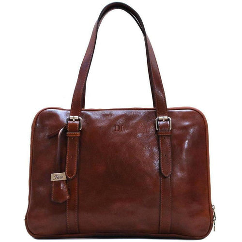 Womens Leather Business Tote Work Laptop Bag Salerno monogram brown