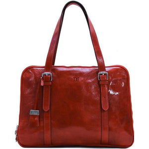 Womens Leather Business Tote Work Laptop Bag Salerno monogram red