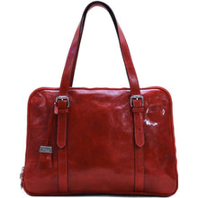 Load image into Gallery viewer, Floto Italian Women's Leather Business Tote Salerno Laptop Bag red