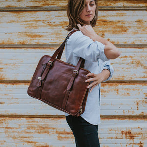 Womens Leather Business Tote Work Laptop Bag Salerno 9