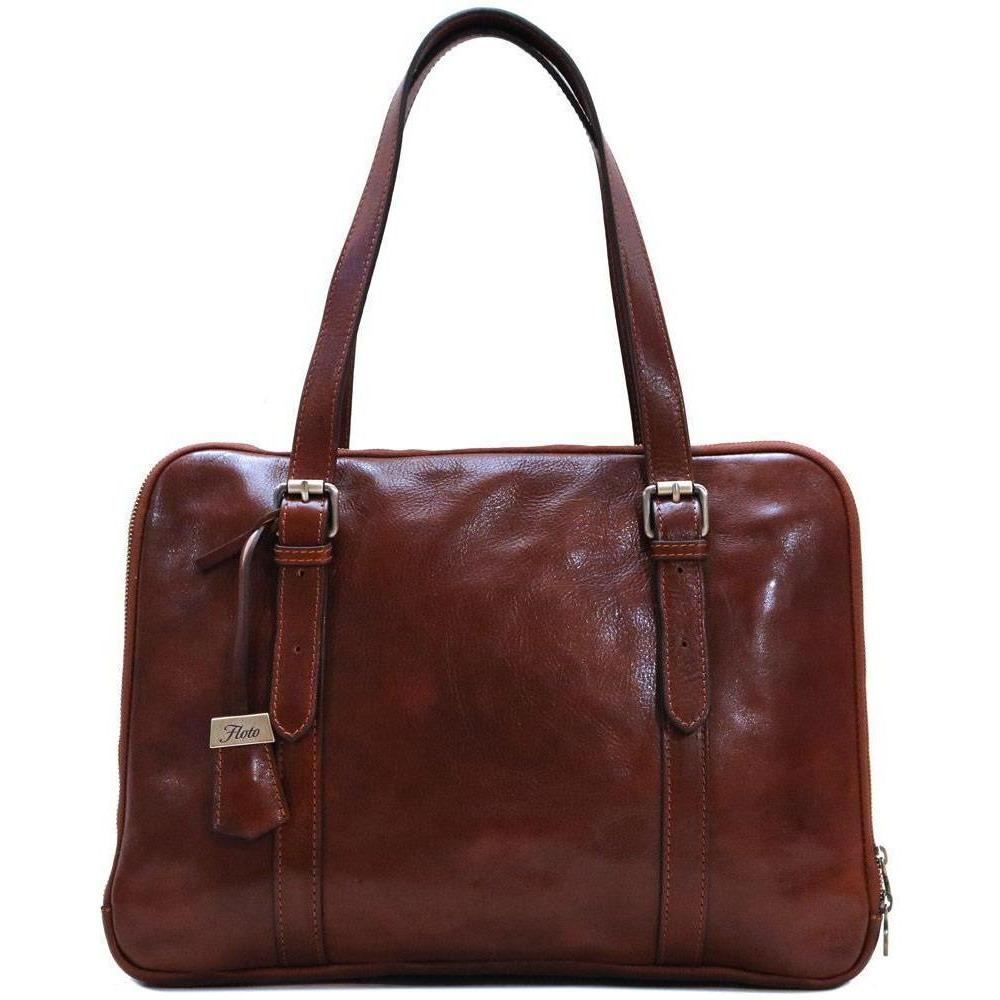 Floto Italian Women's Leather Business Tote Salerno Laptop Bag brown