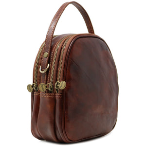 Floto Italian leather mini handbag crossbody shoulder bag siena brown side