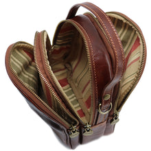 Load image into Gallery viewer, Floto Italian leather mini handbag crossbody shoulder bag siena brown inside