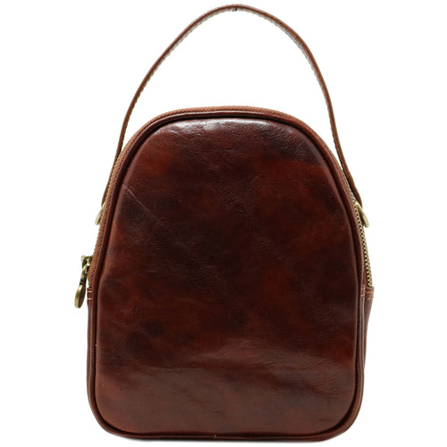 Floto Italian leather mini handbag crossbody shoulder bag siena brown