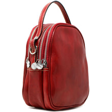 Load image into Gallery viewer, Floto Italian leather mini handbag crossbody shoulder bag siena red side