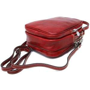Floto Italian leather mini handbag crossbody shoulder bag siena red side