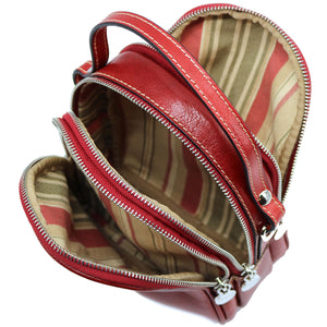 Floto Italian leather mini handbag crossbody shoulder bag siena red inside