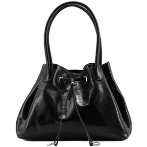Floto Italian Leather Women's Handbag Shoulder Bag Sorrento black