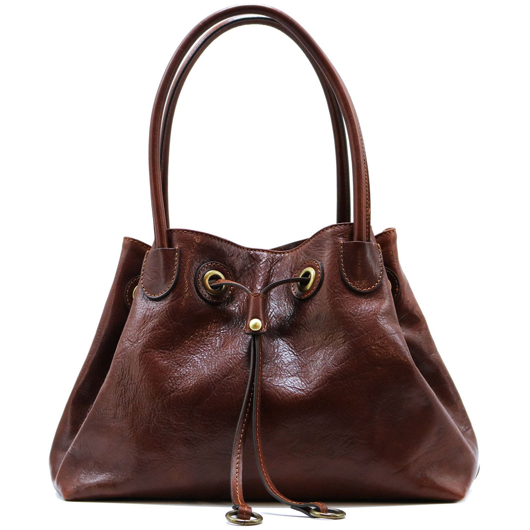 Floto Italian Leather Women's Handbag Shoulder Bag Sorrento brown