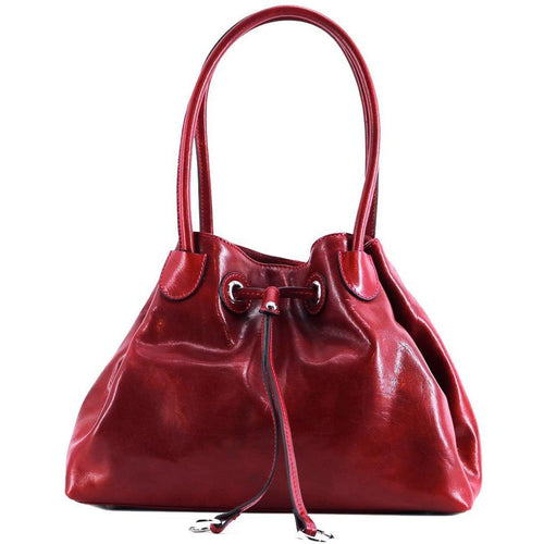 Floto Italian Leather Women's Handbag Shoulder Bag Sorrento red