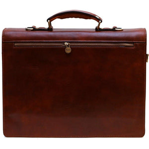 leather briefcase floto ponza brown
