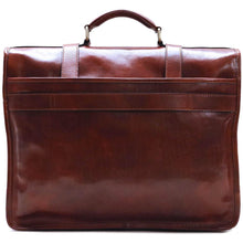 Load image into Gallery viewer, Leather English Briefcase Messenger Bag Floto Firenze back