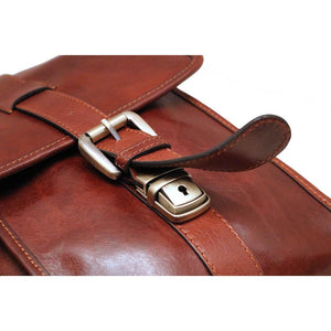 Leather English Briefcase Messenger Bag Floto Firenze strap