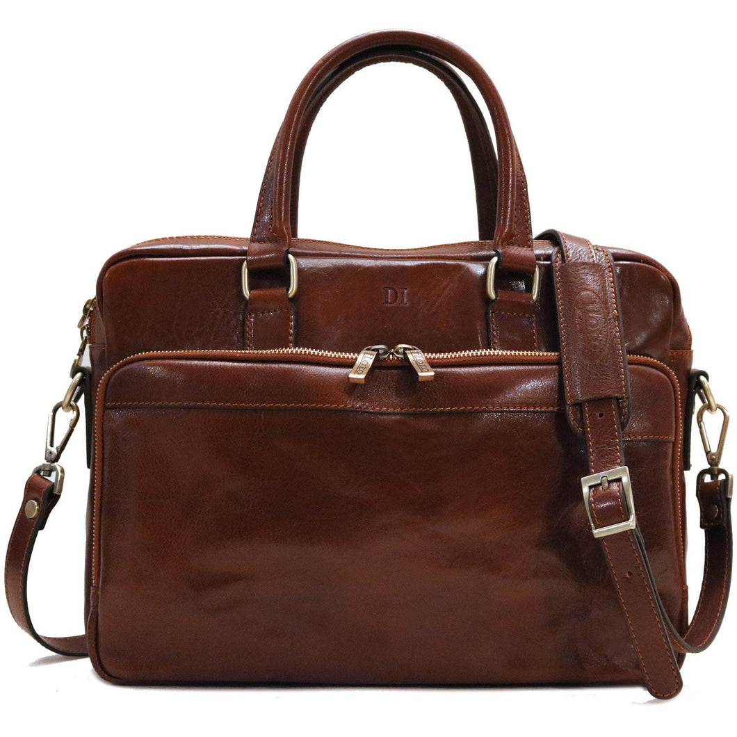 Leather Messenger Bag Laptop Briefcase Avelo brown monogram