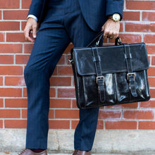 Load image into Gallery viewer, leather English Briefcase Messenger Bag Floto Firenze black 2